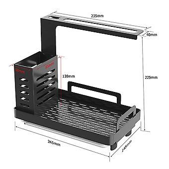 Einfache Küche Spüle Caddy Organizer Edelstahl Schwamm Seife Bürste nera tischhalter mit Drain(schwarz)