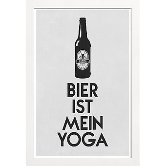 JUNIQE Print - Beer Is My Yoga - Quotes & Slogans Poster in Grey & Black