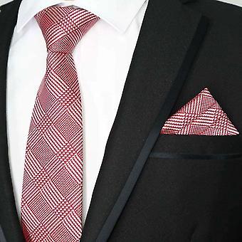 Red & white tartan jacquard necktie & pocket square set