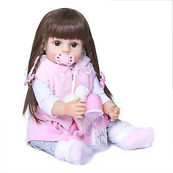 55Cm valódi méretű lány ajándék újjászületett kisgyermek rózsaszín nyúl ruha készlet élethű igazi puha tapintású teljes test szilikon újjászületett baba baba
