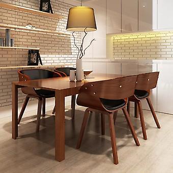 vidaXL تناول الطعام الكراسي 4 أجهزة الكمبيوتر الشخصية. البني بنتوود والجلود الاصطناعية