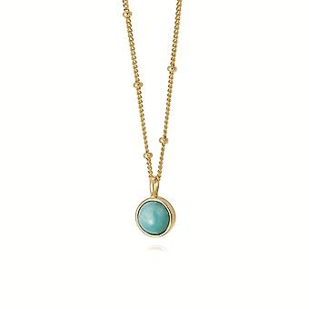 Daisy Amazonite Healing Stone 18ct Gold Plate Necklace HN1003_GP