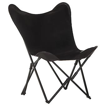 vidaXL Perhonen nojatuoli Taitettava Musta Todellinen Nahka