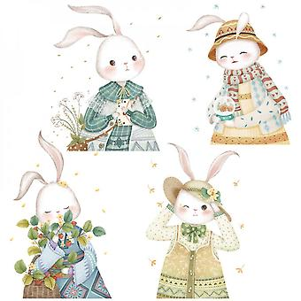 Cute Four Rabbits Wall Sticker Decals (size:124cm X 51cm)