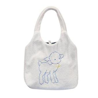 Lovely Plush Lamb Women Handbags Fashion Embroidery Ladies Shoulder Shopping Bags Large Capacity