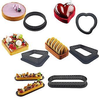 6Pcs/set tarte ring perforated plastic cutting rings non-stick tart mold  mousse circle cutter diy bakeware kit
