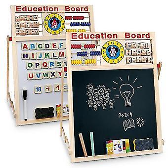 2 in1キッズイーゼル - 木製の黒板ホワイトボードの子供たちがアートチョークボードを描く