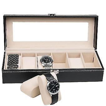 6 Slots Watch Box Leather Watch Storage Box Watch Display Organizers