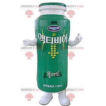 Mascota REDBROKOLY.COM yogur verde y blanco para beber.Mascota REDBROKOLY.COM Danone
