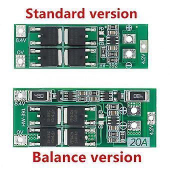 2Kpl 2s 20a 7.4v 8.4v 18650 litiumakkusuojalevy /bms-levy vakio/tasapaino