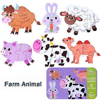 Children's  wooden puzzle baby early educational toys cartoon animal traffic wood jigsaw puzzles of the six-in-one toy