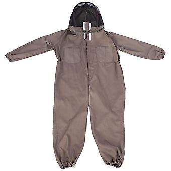 Professional Veil And Bee-proof Jumpsuit With Hood And Full Protection Cotton Brown (l)
