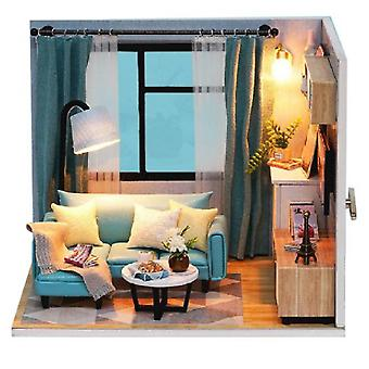 Happy Life Reunion Doll House Living Room 1:24 Doll House Miniature And Light Wood Diy Furniture Kit-happy Life Reunion