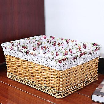 Baskets 4 piece set of french style vintage handmade rattan storage baskets for household use 4 light brown