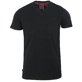 Superdry miesten musta kirjailtu logo t-paita