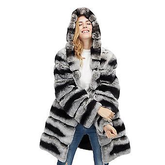 Mimigo Kapucnis nők Sima Rex Nyúl szőrme kabát eredeti nyúl szőrme kabát téli csincsilla színű hosszú ujjú meleg pamut