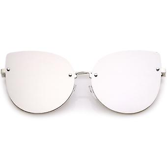 Women's Oversize Rimless Cat Eye Sunglasses With Colored Mirror Flat Lens 61mm