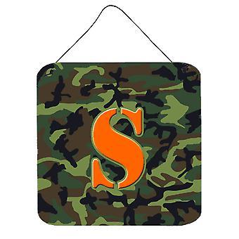 الحرف S مونوغرام الأولية-التمويه حائط أخضر أو باب شنقاً يطبع