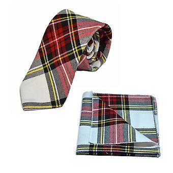 Cravatta in Tartan bianco & rosso tradizionale & fazzoletto da taschino impostata, Check, Plaid
