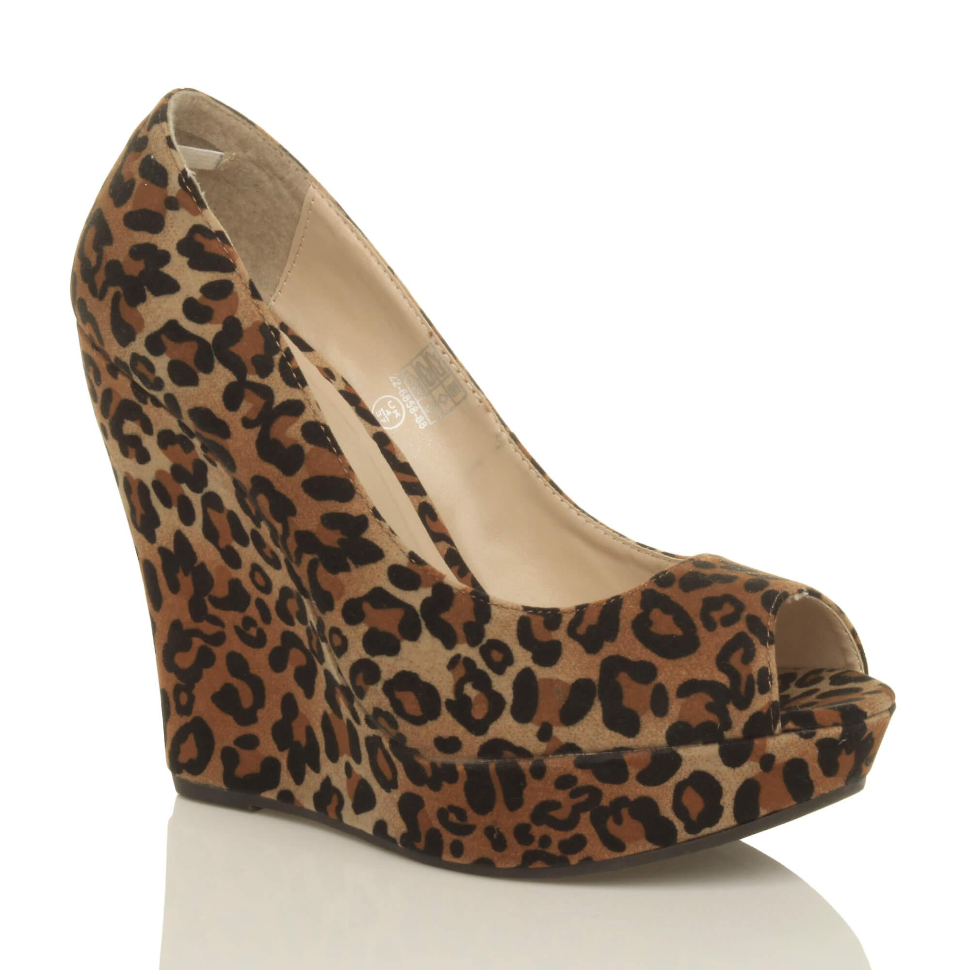 Ajvani womens high heel wedge peep toe platform party court shoes pumps WmPtN