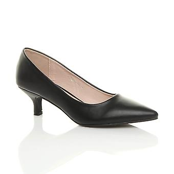 Ajvani womens baixas média gatinho calcanhar básica trabalhar sapatos pontiagudos inteligente
