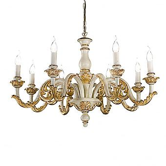 Ideal Lux Giglio 8 Arm Traditional Candle Chandelier In Gold And Ivory White