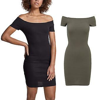 Urban classics ladies - off shoulder rib stretch dress