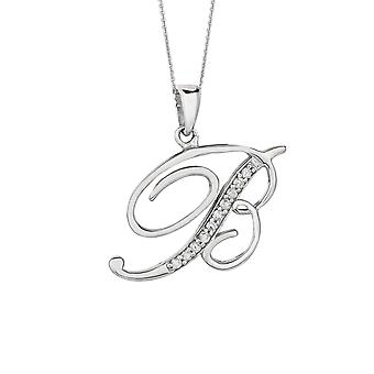 Sterling Silver Rhodium Plated Script Initial Letter B With Diamonds On 18 Inch Chain ( 0.05 Tcw)