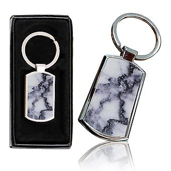 i-Tronixs - Premium Marble Design Chrome Metal Keyring with Free Gift Box (1-Pack) - 0028