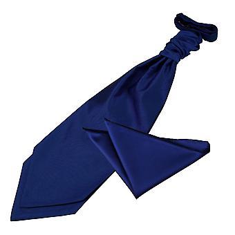 Royal Blue Solid Check Wedding Cravat & Pocket Square Set
