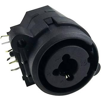 Cliff FC2410 XLR connector Socket, horizontal mount Number of pins: 3 Black 1 pc(s)