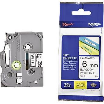 Merking tape bror TZe, TZ TZe-211 Tape farge: hvit skrift farge: svart 6 mm 8 m