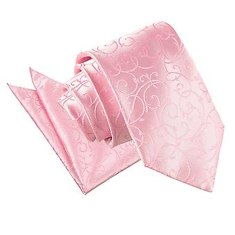 Baby rosa Wirbel Krawatte & Pocket Square Set