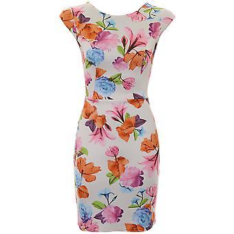 Damen Mütze Sleeve Blumen Print ausgeschnitten Bogen zurück kurz Bodycon Kleid