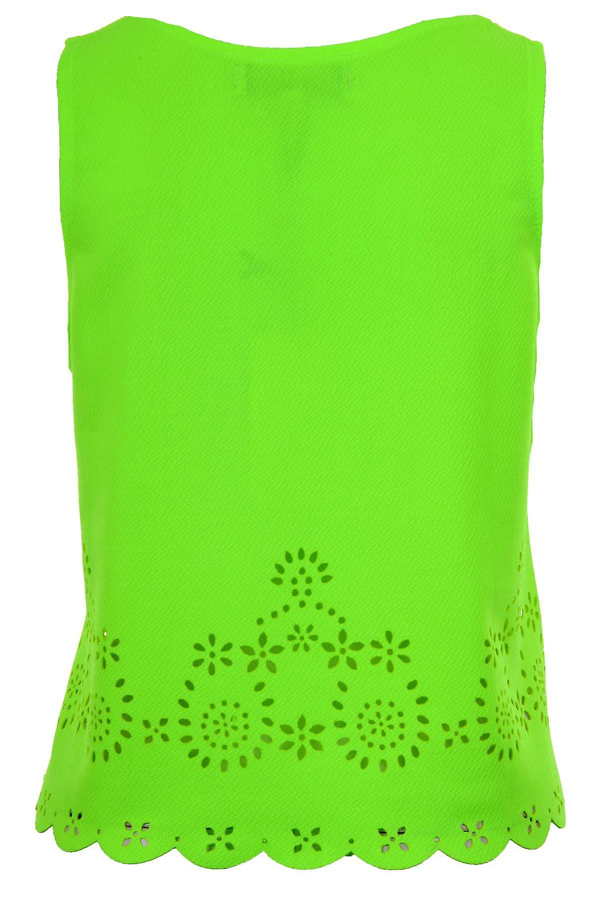 Women's Floral Cut Out Vest Ladies Sleeveless Scallop Hem Trim Summer Top