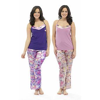 2-Pak damer Wolf & Harte Satin blomsterprint Strappy Top sommer pyjamas