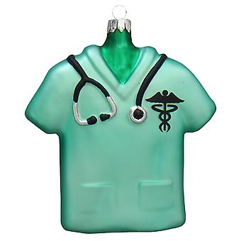 Kerst door Krebs verpleegkundige groen Scrub Top vakantie Ornament glas