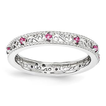 3mm 925 plata esterlina pulido Prong set Rhodium plateado expresiones apilables creado anillo de zafiro rosa joyería regalos