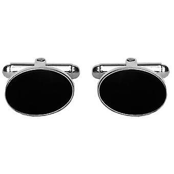 David Van Hagen Sterling Silver Onyx Oval Cufflinks