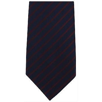 Michelsons af London stribede ekstra lange Polyester binde - Navy/vin