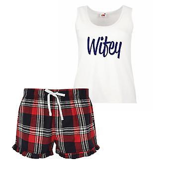 Wifey Ladies Tartan Frill pigiama corto Set rosso blu o verde blu