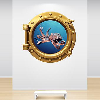 Full Colour Octopus Brass Gold Porthole Wall Sticker
