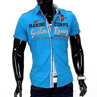 Herren Short Sleeve Cargo Brusttasche Vintage Polo Shirt Herren Hemd Cuba Libre