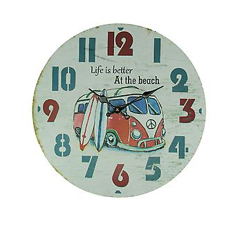 Weathered White Wood Vintage Surfer Bus Wall Clock