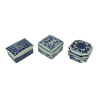Blue and White Porcelain Decorative Trinket Boxes Set of 3