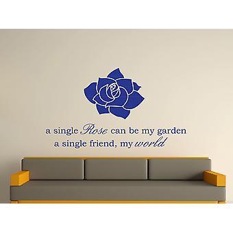 A Single Rose Wall Art autocollants - Bleu foncé