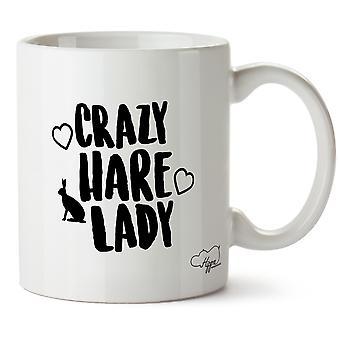Hippowarehouse Crazy Hare Lady Printed Mug Cup Ceramic 10oz