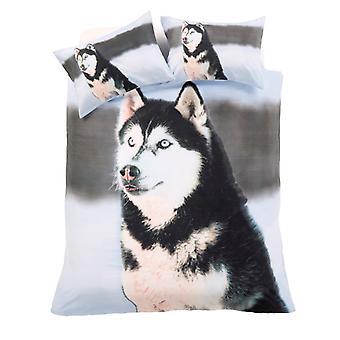 3D Huskie dierlijke Dekbedovertrek Quilt Cover katoen Rich Set beddengoed kussen geval