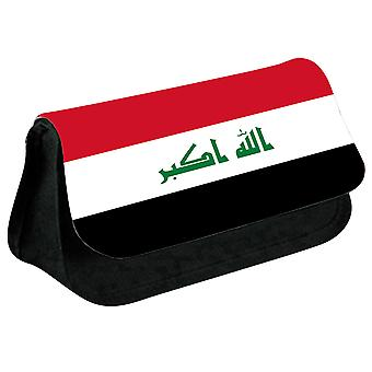 Iraq Flag Printed Design Pencil Case for Stationary/Cosmetic - 0080 (Black) by i-Tronixs