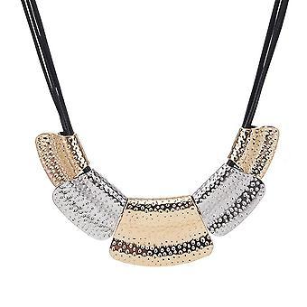 Ladies gold & silver plate style statement bib choker collar necklace